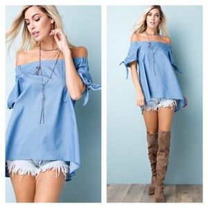 Off the Shoulder Chambray Tunic Top